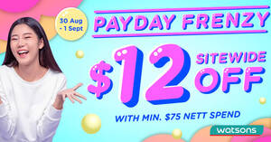Featured image for Watsons: Get $12 off min $75 orders at online store with this code valid till 1 Sep 2021