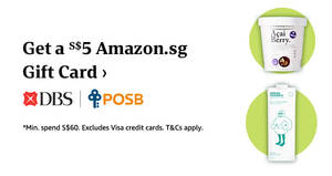 Featured image for Amazon.sg Fresh: Get a S$5 Gift Card when you spend min S$60 using DBS/POSB cards till 10 Sep 2021