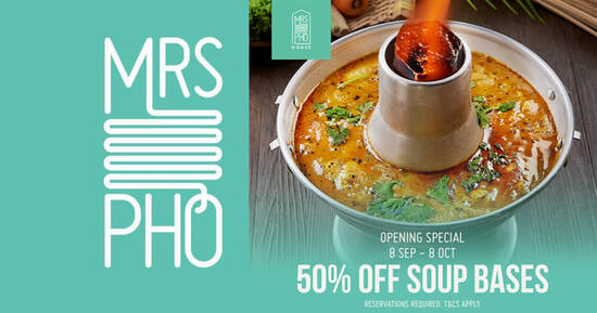 Featured image for Celebrate Mrs Pho House Opening with 50% Soup Bases from 8 September to 8 October 2021