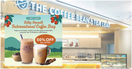 Featured image for Coffee Bean & Tea Leaf is offering 50% off ALL lattes at S'pore stores on 1 October 2021