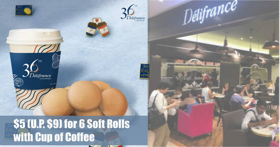 Featured image for Delifrance: $5 (U.P. $9) for 6 Soft Rolls with Cup of Coffee till 14 Sep 2021