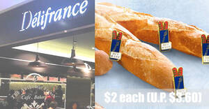 Delifrance S'pore is offering $2 Baguettes (usual price $3.60) in celebration of their 36th anniversary till 21 Sep 2021