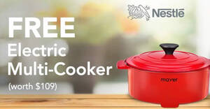 Featured image for Free Mayer Electric Cooker (worth $109) when you buy NESTLÉ products at Fairprice Online till 30 Sep 2021