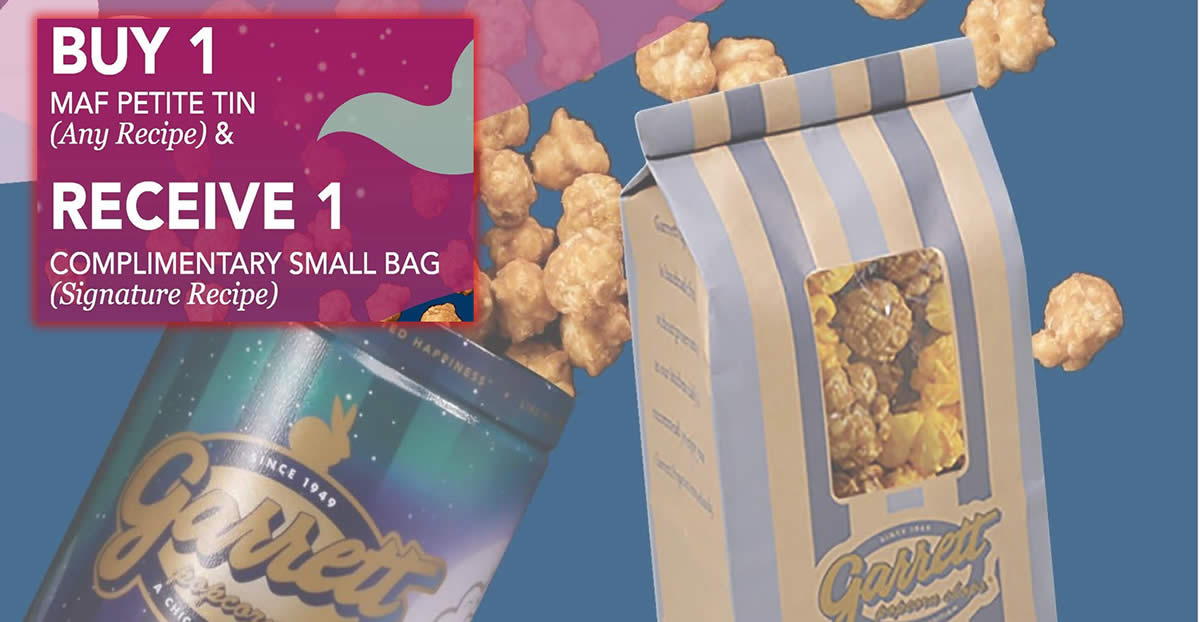 Featured image for Garrett Popcorn: Buy 1 Mid-Autumn Festival petite tin (any recipe) and get 1 free small bag (Signature Recipe) this Sept 2021