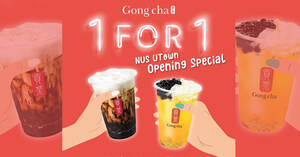Featured image for Gong Cha is offering 1-for-1 drinks at new NUS University Town outlet from 1 – 5 Sep 2021
