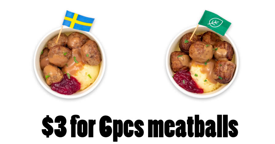 Featured image for IKEA Tampines offering $3 6pcs meatballs (Swedish / Plant) at Swedish Bistro from 9 - 19 Sep 2021