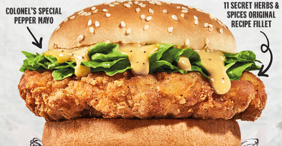 Featured image for KFC S'pore: New Original Recipe Burger with thigh meat and 11 herbs & spices from 15 Sep 2021