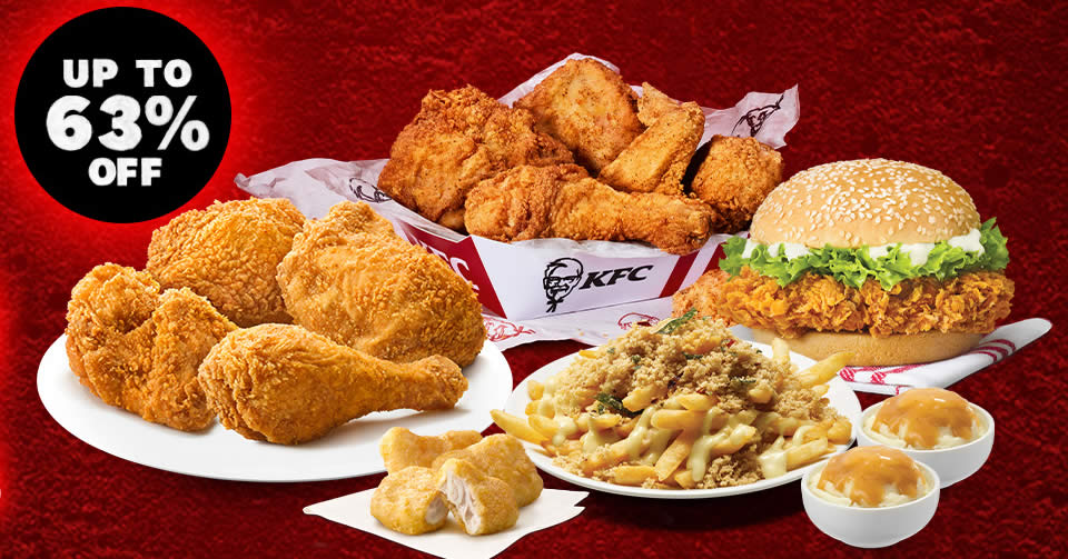 Featured image for KFC S'pore is offering up to 63% off special 9.9 delivery deals till 12 Sep 2021