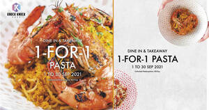 """Featured image for New café in Kallang """"Knock Knock Café"""" is offering 1-for-1 pasta dishes till 30 Sep 2021"""
