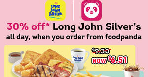 Featured image for Long John Silver's: 30% off the entire menu on foodpanda till 26 Sep 2021