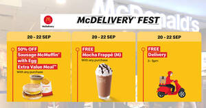 Featured image for McDelivery: FREE Delivery, Mocha Frappe or 50% off Sausage McMuffin with Egg EVM promo codes from 20 – 22 Sep 2021