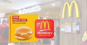 Featured image for McDelivery S'pore: Free Filet-O-Fish® Burger with any purchase when you apply this promo code till 26 Sep 2021