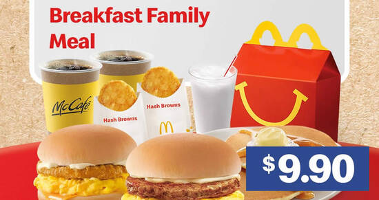 Featured image for McDonald's S'pore is offering $9.90 Breakfast Family Meal (U.P. from $15.90) on Thursday, 9 Sep 2021