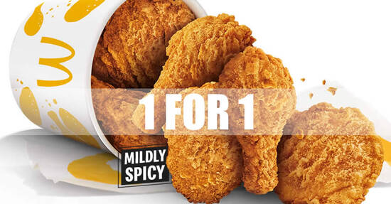 Featured image for McDonald's McDelivery is offering 1-for-1 Chicken McCrispy 6pc (a la carte) from 27 - 28 Sep 2021