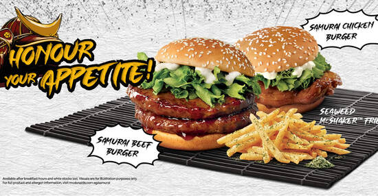 Featured image for McDonald's S'pore brings back Samurai Chicken/Beef burgers from 30 Sep 2021