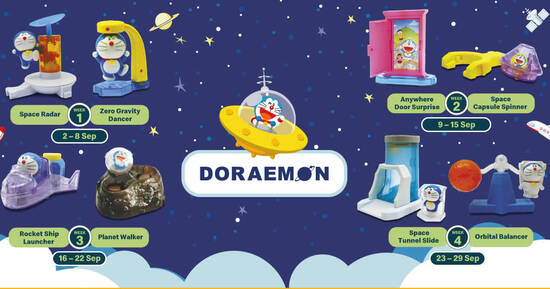 Featured image for McDonald's S'pore is now offering Doraemon toys free with any Happy Meal purchase till 29 Sep 2021