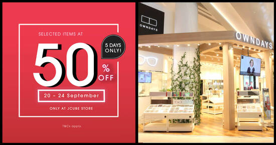 OWNDAYS is offering Buy 1 Get 1 Free selected items at JCube Store from 20 – 24 Sep 2021
