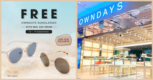 Featured image for OWNDAYS S'pore: Free Pair of Sunglasses (worth $78) with min. spend of $68 at Jewel store till 19 Sep 2021