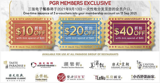 Paradise Group is giving away $70 worth of vouchers in celebration of their 10th anniversary till 31 Oct 2021
