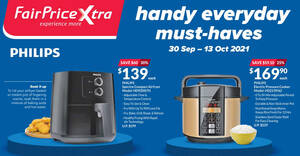 Featured image for Up to 30% off Philips Air Fryer, Pressure Cooker & other Philips offers at Fairprice Xtra till 13 Oct 2021