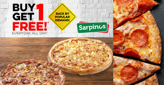 Sarpino's is offering Buy 1 Get 1 Free pizzas for delivery/takeaway orders. Choose from 23 different flavoured pizzas - 1