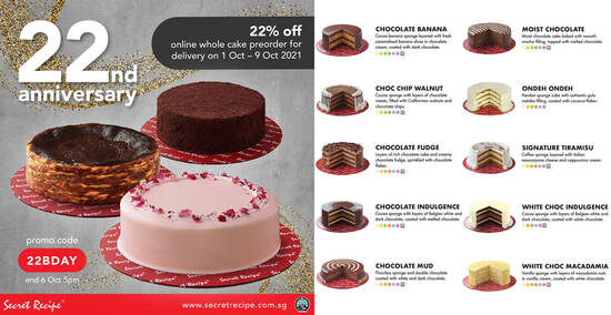 Featured image for Secret Recipe S'pore is offering 22% off whole cake preorders in celebration of 22nd anniversary till 6 Oct 2021