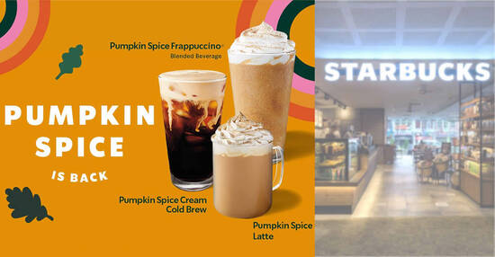 Featured image for Starbucks S'pore brings back Pumpkin Spice Latte and Pumpkin Spice Cream Cold Brew beverages from 30 Sep 2021