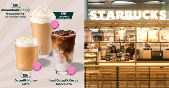 Featured image for Starbucks launches new beverages made with plant-based milk in S'pore stores from 24 Sep 2021