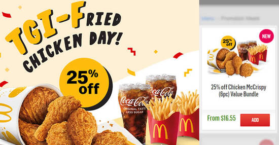 Featured image for 25% OFF Chicken McCrispy® (6pc) Value Bundle via McDelivery! Valid on Fridays till 24 Sep 2021