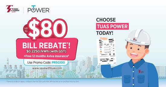 Featured image for Enjoy Up To $80 Bill Rebate When You Sign-Up with Tuas Power Today