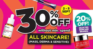 Featured image for Watsons 4-DAYS ONLY: 30% off all skincare – no min spend! Valid till 5 Sep 2021