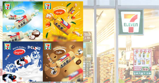 7-Eleven is offering new flavours of the iconic White Rabbit Sweet, choose from Coconut, Mango, Coffee or Original
