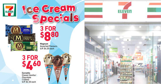 7-Eleven S'pore Ice Cream Specials: 3 for $4.60 Cornetto Classic, 3 for $8.80 Magnum & More till 23 Nov 2021