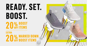 Featured image for Adidas S'pore is offering Boost products at 20% off online till 24 Oct 2021