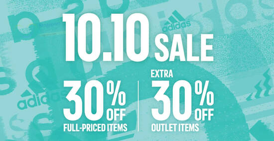 Featured image for Adidas S'pore online 10.10 sale 30% off regular-priced items and extra 30% off outlet items till 11 Oct 2021