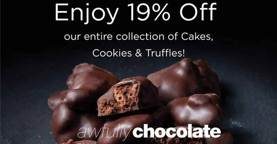Featured image for Awfully Chocolate is offering 19% off cakes, cookies & truffles when you apply this code online on 10 Oct 2021