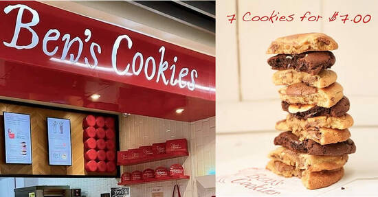 Featured image for (Sold Out!) Ben's Cookies is offering their cookies at 7-for-$7 closing down sale at Wisma Atria from 7 - 10 Oct 2021