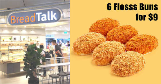 Featured image for BreadTalk Flosss and Fire Flosss Buns are going at 6-for-$9 at S'pore stores till 15 October 2021