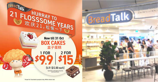 Featured image for BreadTalk is offering their Cocoa Forest & Strawberry Surprise box cakes from $7.50 each (usual $12.80) till 31 Oct 2021