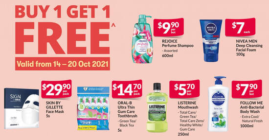 Fairprice Xtra is offering Buy-1-Get-1-Free Listerine, Oral-B and more products till 20 Oct 2021