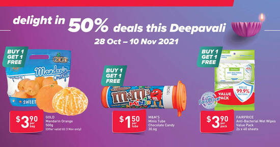 Fairprice Has Buy-1-Get-1-Free Anti-Bacterial Wet Wipes, M&M's Minis Tube & more till 10 Nov 2021