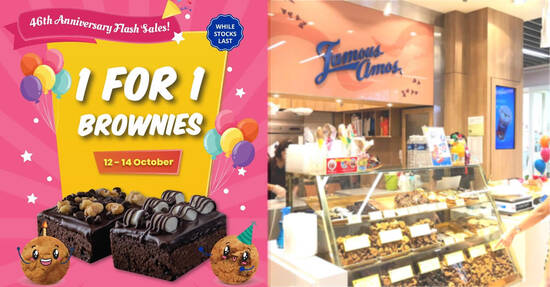 Featured image for Famous Amos is offering 1-for-1 Brownies at S'pore stores from 12 - 14 Oct 2021