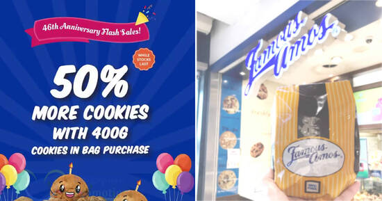 Famous Amos: Get 50% more cookies when you purchase 400g Cookies in Bag at S'pore stores from 23 – 24 Oct 2021