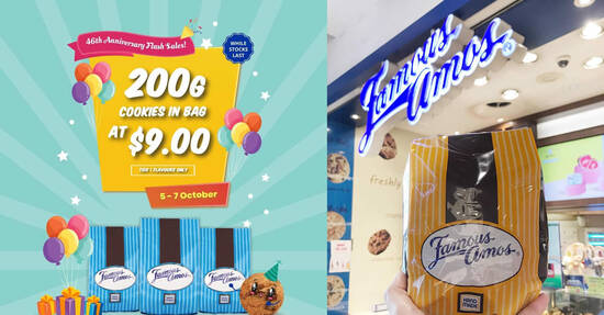 Featured image for Famous Amos S'pore is having a $9 deal for 200g Cookies in Bag from 5 - 7 October 2021