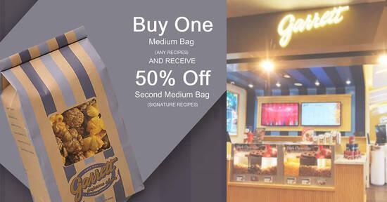 Featured image for Garrett Popcorn: Buy one medium bag of any recipe, get 50% off 2nd bag of signature recipe till 31 Oct 2021