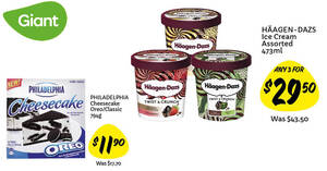 Featured image for Giant: Haagen-Dazs at 3-for-$29.50 (U.P. $43.50), $5.80 off Philadelphia Cheesecake Oreo / Classic & more till 13 Oct 2021