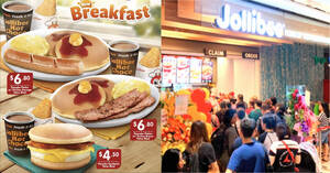 Featured image for Jollibee S'pore is now offering new Breakfast sets at selected outlets from 1 Oct 2021