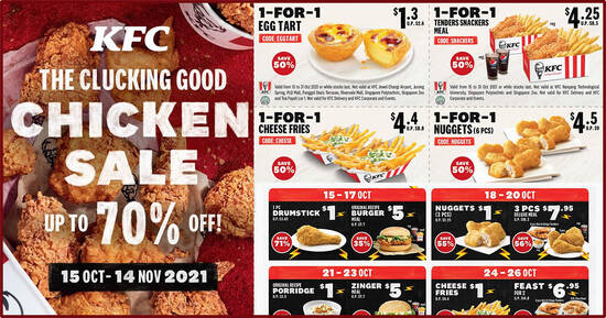 KFC's Latest Coupons Has $1 Drumstick, 1-for-1 Cheese Fries & More For In-Store & Delivery (15 – 31 Oct 2021)