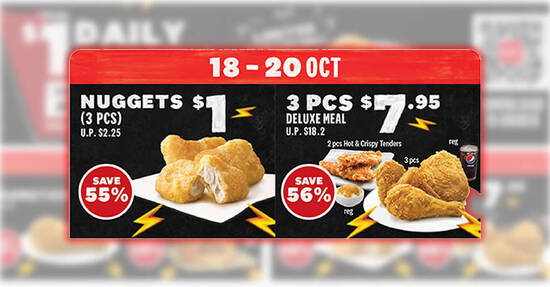 KFC: 56% off 3pcs Deluxe Meal and $1 3pcs Nuggets deals for dine-in/takeaway at S'pore stores till 20 Oct 2021