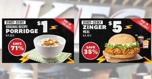 Featured image for KFC S'pore is offering $1 Original Recipe Porridge and $5 Zinger Meal for dine-in/takeaway orders till 23 Oct 2021